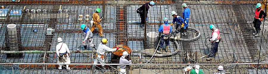 建築工事コンクリート打設